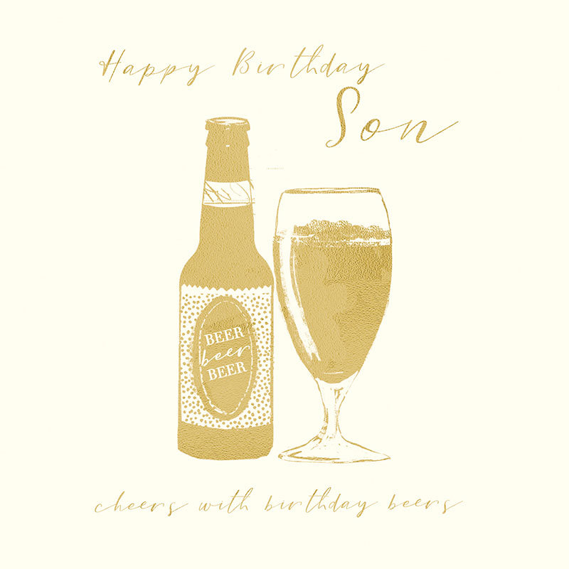 Happy Birthday Son cheers with birthday beers